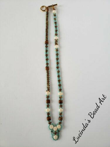 Woven Aqua, Brown, and Cream Necklace