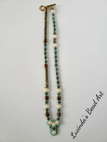 Woven Aqua, Brown, and Cream Necklace