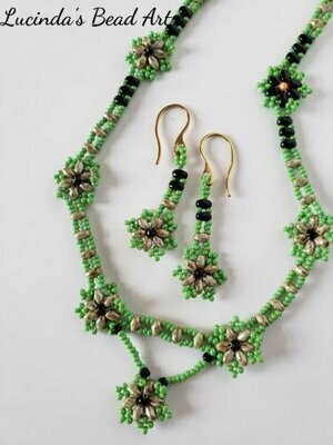 Green, Black and Travertine Necklace