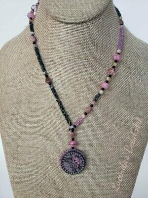 Pink, Fuchsia and Metallic Slate Necklace