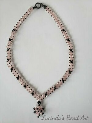 Pink and Black Crystal Necklace