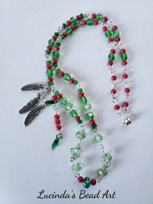 Linked Green and Coral Necklace