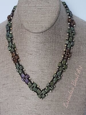 Tiles Necklace - Greens and Bronze