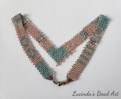 Netted Aqua and Blush Necklace