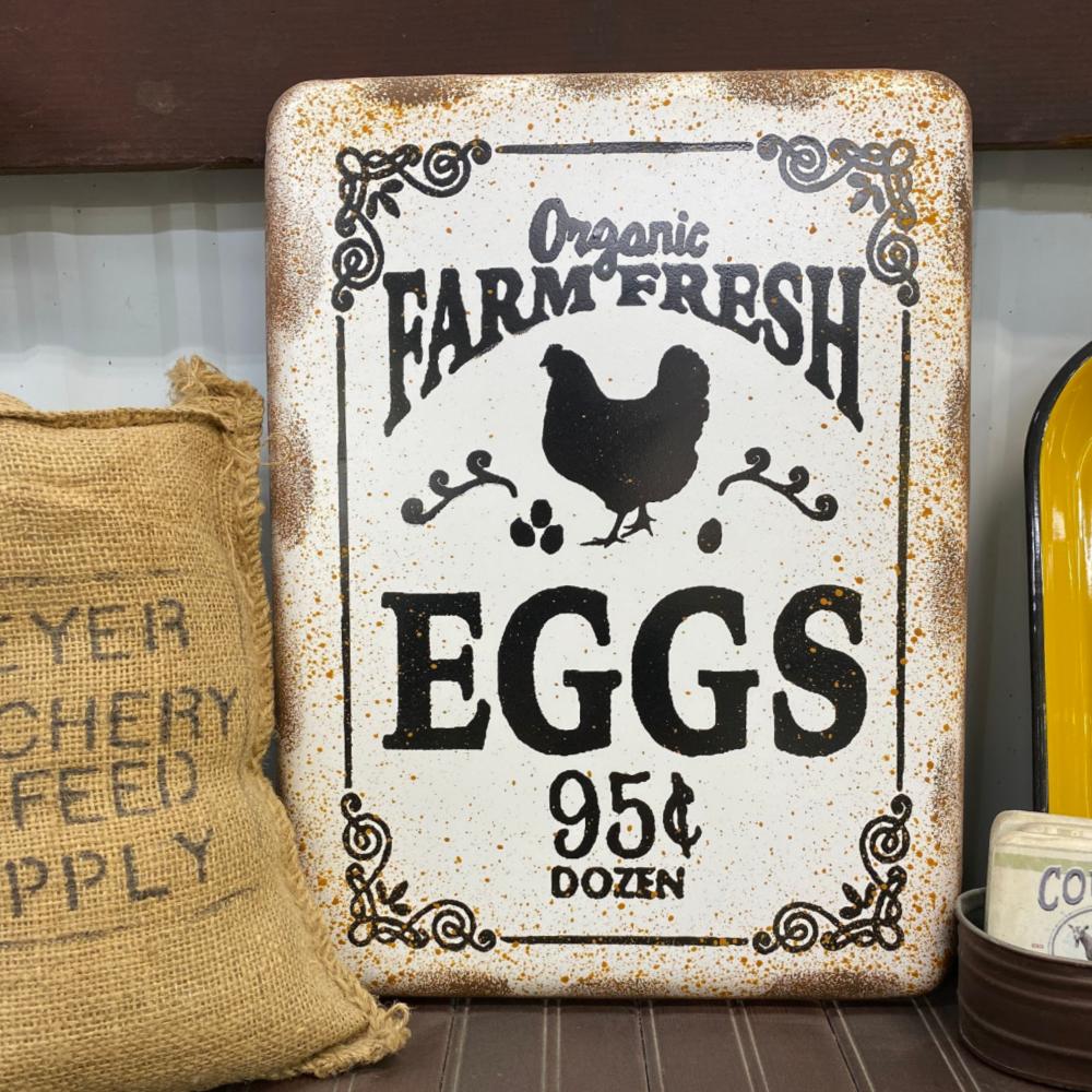 Retro Organic Eggs Sign