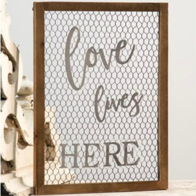 Love Lives Here Chicken Wire Sign
