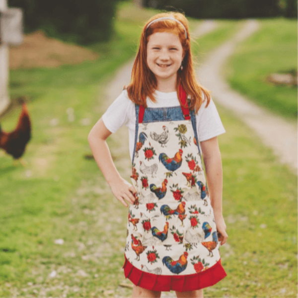 Fluffy Layers Kids Red Rooster Full Body Egg Collecting Apron