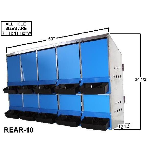 10-Hole Rear Roll Out Nest Box