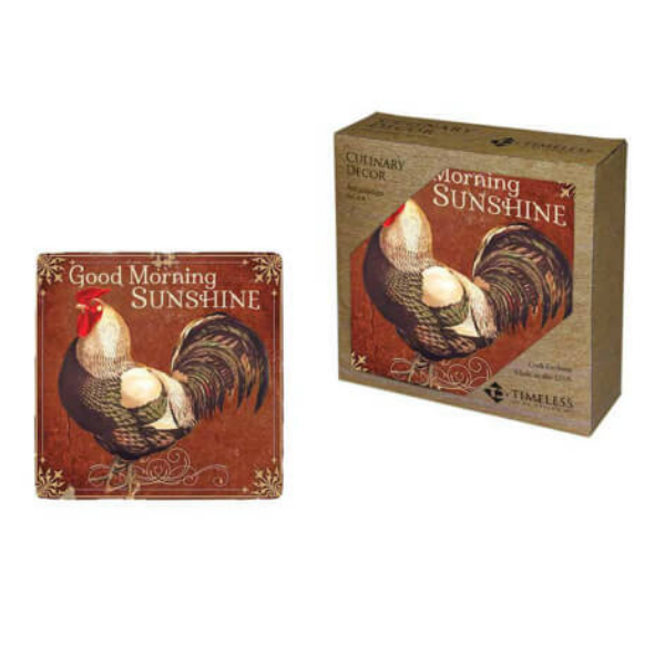 Good Morning Sunshine Rooster Coaster Set