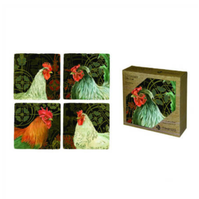 French Rooster Coaster Set