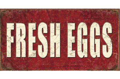 Rustic Tin Fresh Eggs Sign