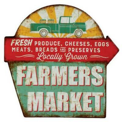 Farmer's Market Distressed Tin Sign