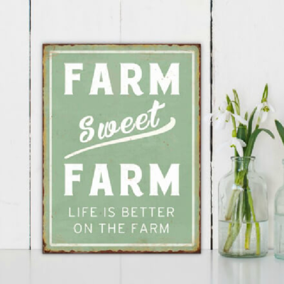 Farm Sweet Farm Aqua Tin Sign