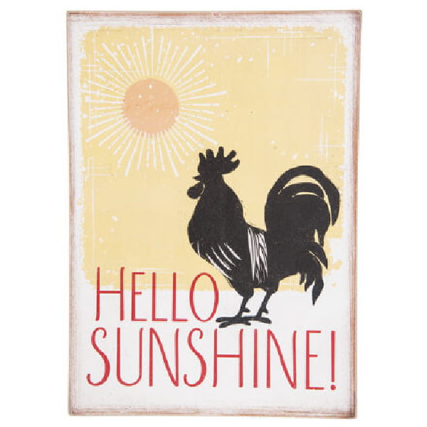 Hello Sunshine Rooster Wall Plaque