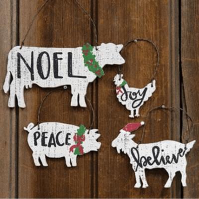 Farm Animal Ornaments - Set of 4