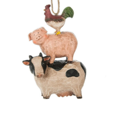 Rooster, Pig, Cow Stack Ornament