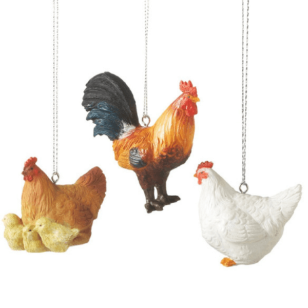 Chicken Ornaments, Set of 3