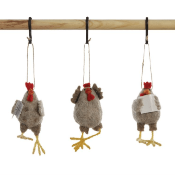 Wool Felt Chicken Ornament