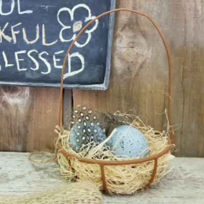 Metal Basket with Feathers and Blue Eggs Ornament
