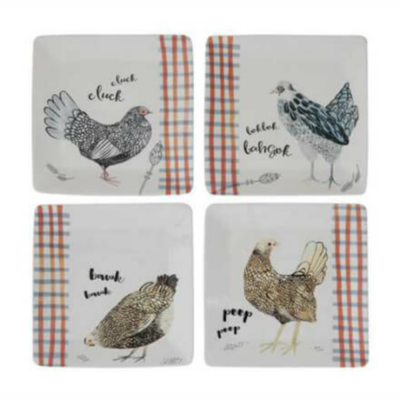 Large Stoneware Chicken Plates, Set of 4