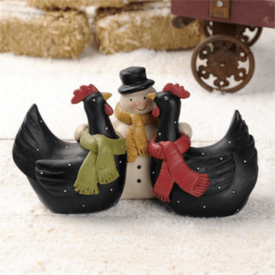 Snowman with Chickens Winter Decoration