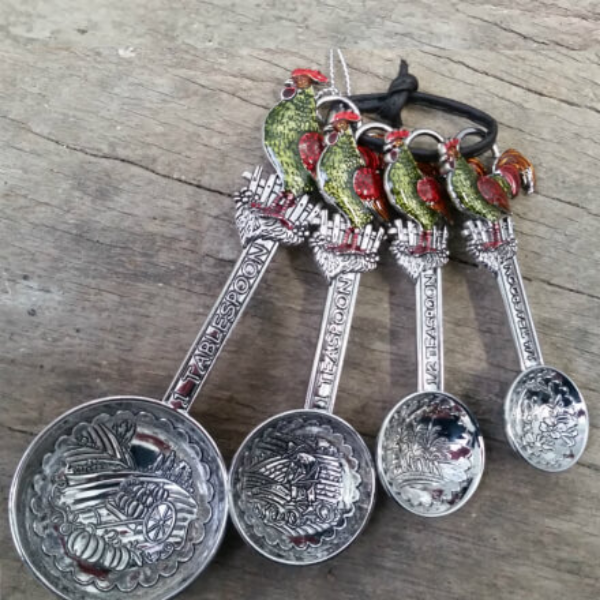 Enameled Rooster Measuring Spoons
