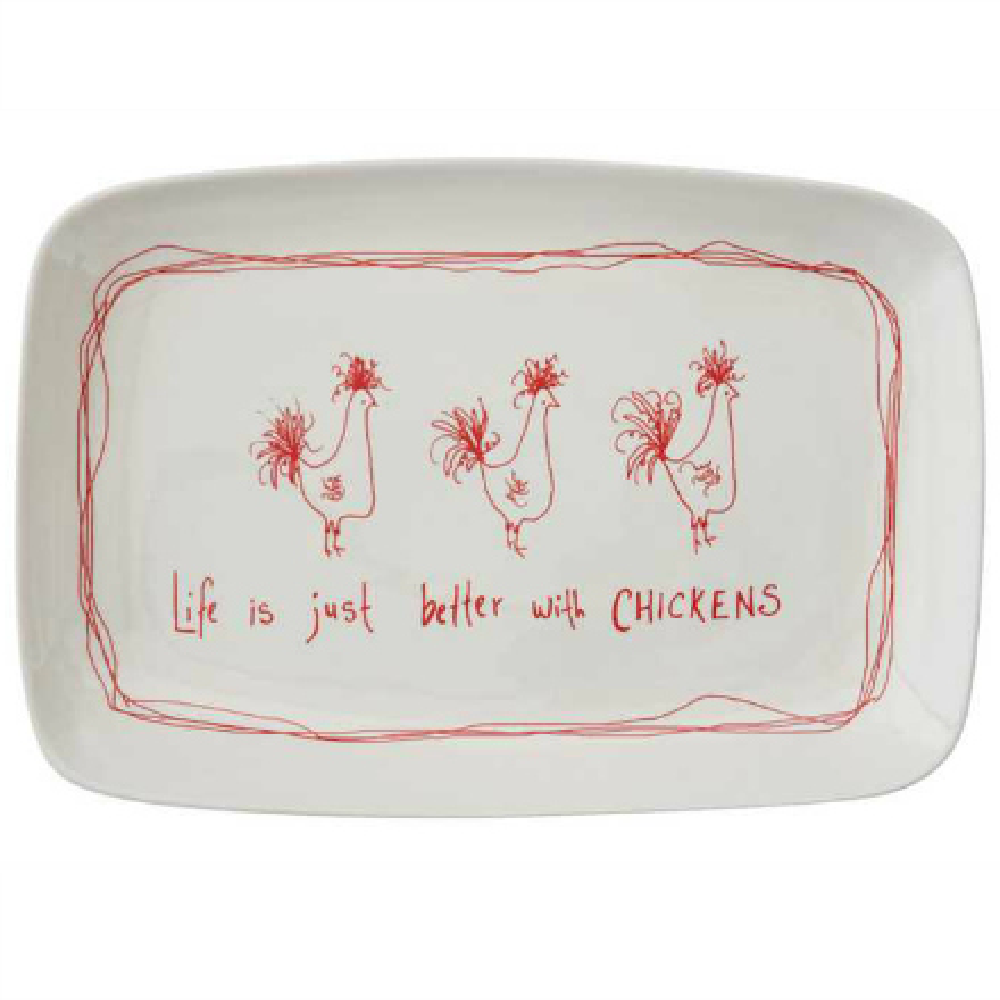 Life Is Just Better with Chickens Stoneware Platter