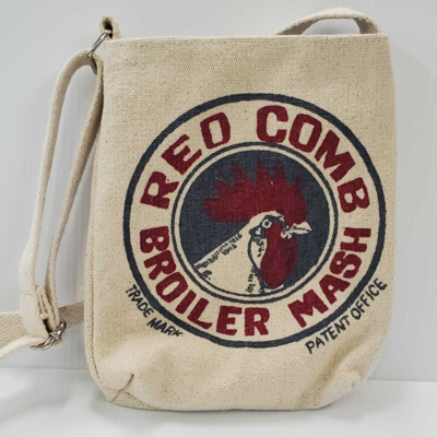 Canvas Red Comb Broiler Mash Crossbody Tote