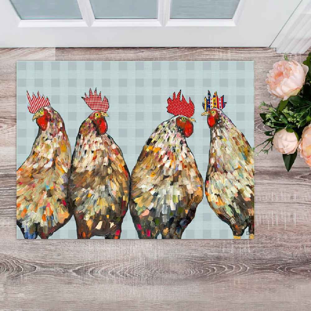 Rooster Plaid Floorcloth