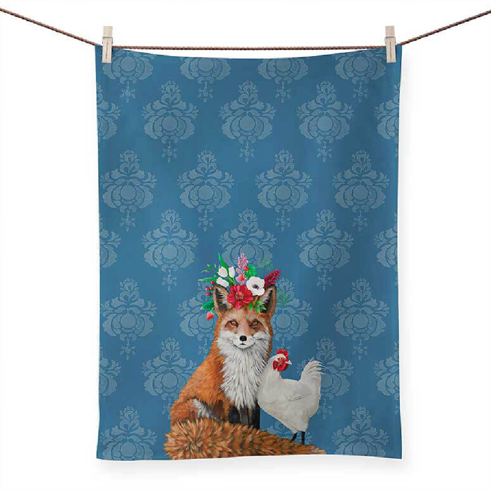 Fox and Rooster on Blue Tea Towel