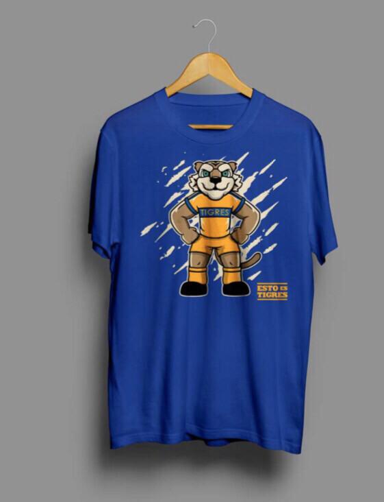Camiseta Azul Mascota Tigres niños