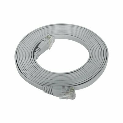 Patch Cord Flat Cable RJ45 Flexível Cat6 3m Cinza