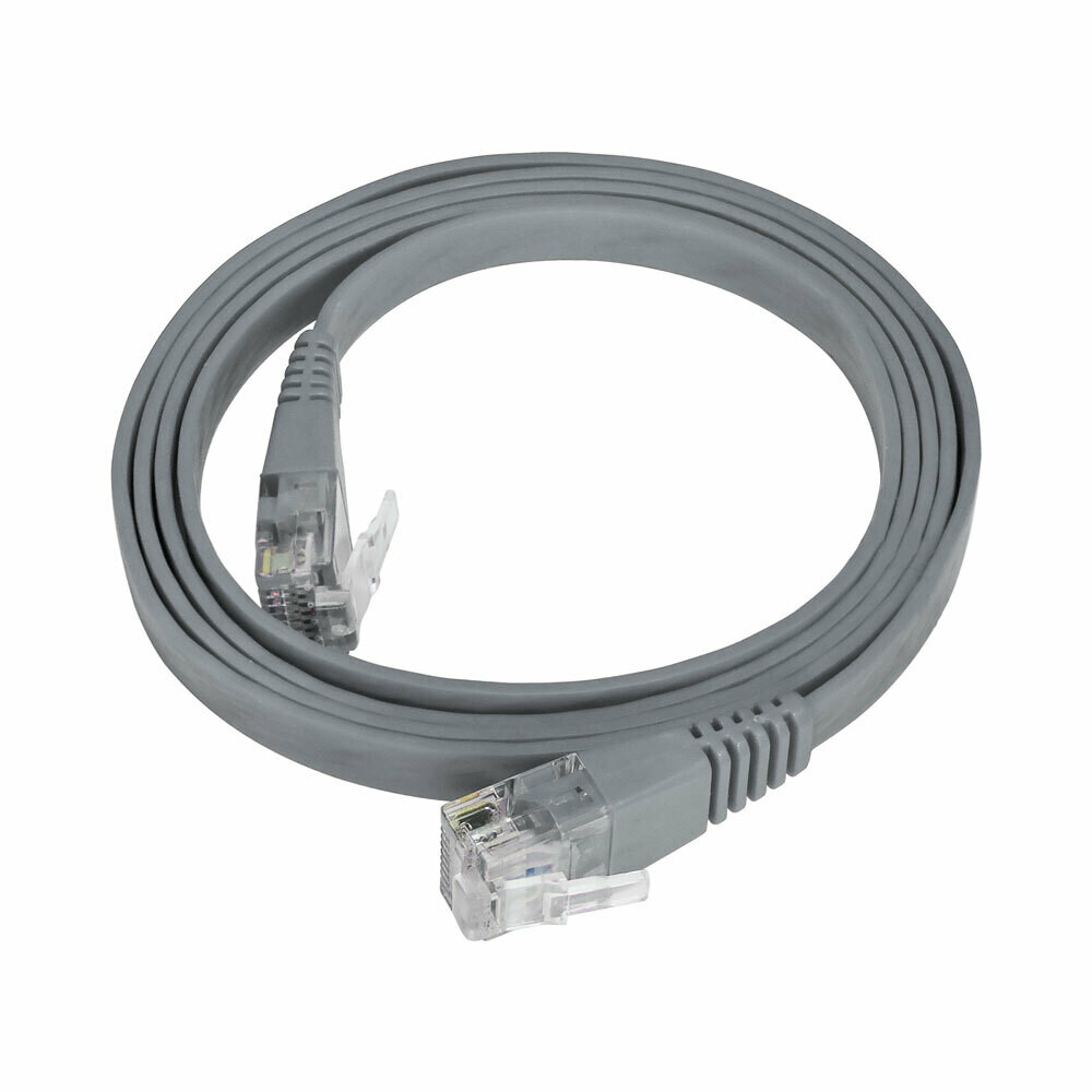 Patch Cord Flat Cable  RJ45 Flexível Cat6 1m Cinza