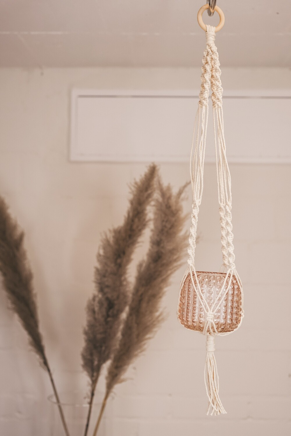 Macramee hanging basket with wooden ring