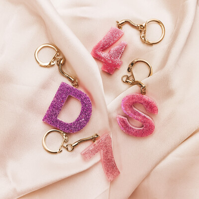 Customable glitter Keychains