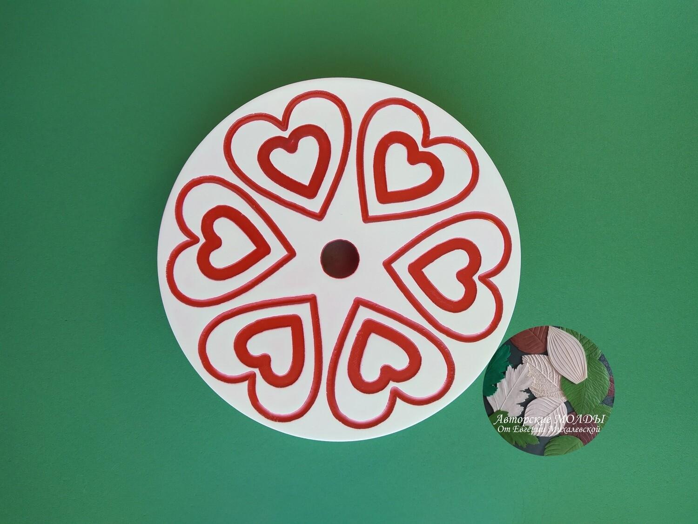 Подставка круглая Сердце3   19х19 см