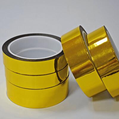 Тейп лента золотая пластиковая 25м ширина 12мм