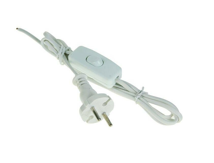 Шнур 1.7 м с выключателем и вилкой, белый провод