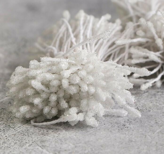 Круглые тычинки для цветов, белый Бумага, текстиль