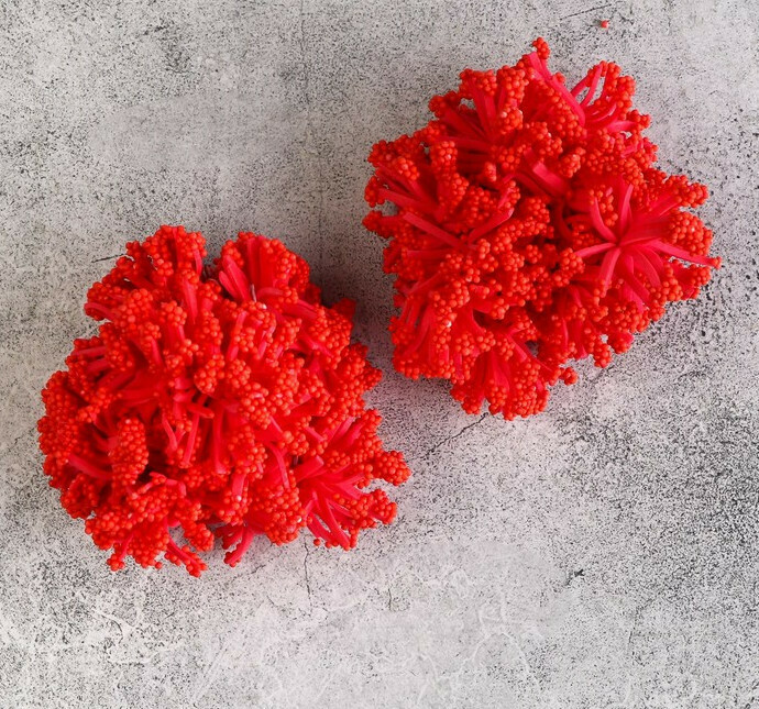 Круглые тычинки для цветов, красный Бумага,текстиль