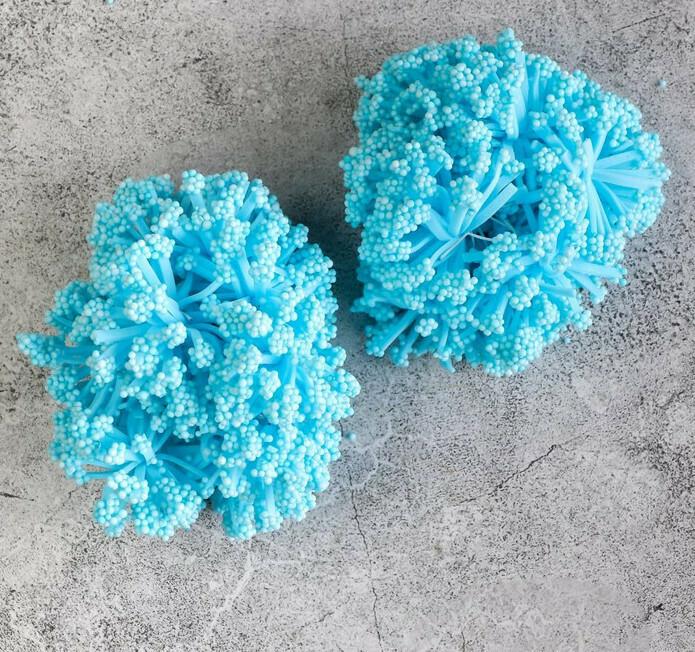 Круглые тычинки для цветов, голубой Бумага,текстиль