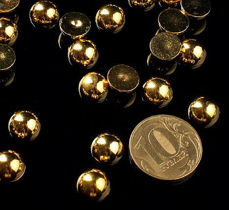 """Полубусины """"Круг"""" d=10 мм 100 г, золотые"""