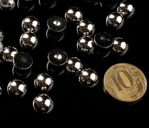 """Полубусины """"Круг"""" d=10 мм 100 г, серебро"""