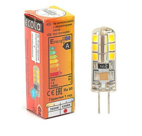 Лампа светодиодная Ecola Corn Micro, 1.5 Вт, G4, 4200 K, 320°, 35х10 мм