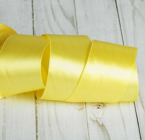 Лента атласная 4 см*25 ярдов жёлтая 081