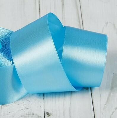 Лента атласная 5 см*25 ярдов голубая 104