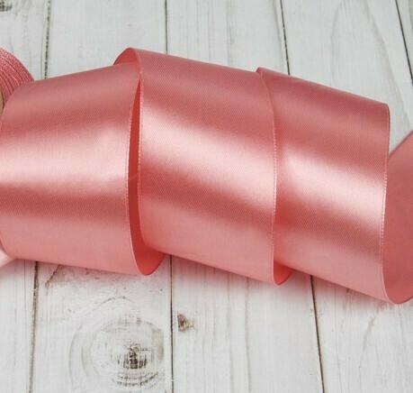 Лента атласная 5 см*25 ярдов розовая 041