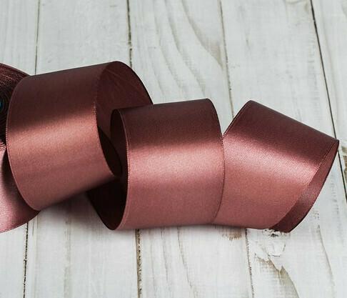 Лента атласная 5 см*25 ярдов коричневая 071