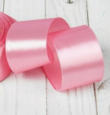 Лента атласная 5 см*25 ярдов розовая 094