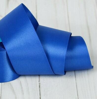 Лента атласная 5 см*25 ярдов синяя 040